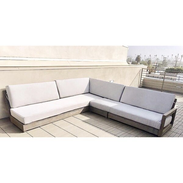 Renner Weathered 4 Piece Teak Sunbrella Sectional Set with Cushions by Orren Ellis