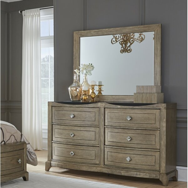 Ragnar 6 Drawer Double Dresser with Mirror by House of Hampton