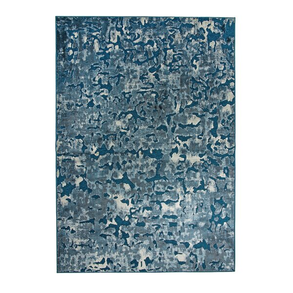 Teague Machine Woven Synthetic/Chenille Blue/Ivory Indoor Area Rug by Brayden Studio