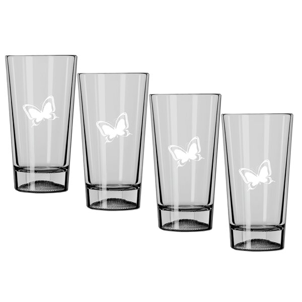 Highlawn Butterfly 16 oz. Crystal Pint Glass (Set of 4) by Winston Porter
