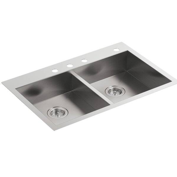 Vault 33 L x 22 W x 6-5/16 Double-Equal Dual-Mount Kitchen Sink with 4 Faucet Holes by Kohler