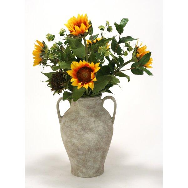 Sunflowers, Bupleurum, Bay Leaf in Jar with Handles by Distinctive Designs