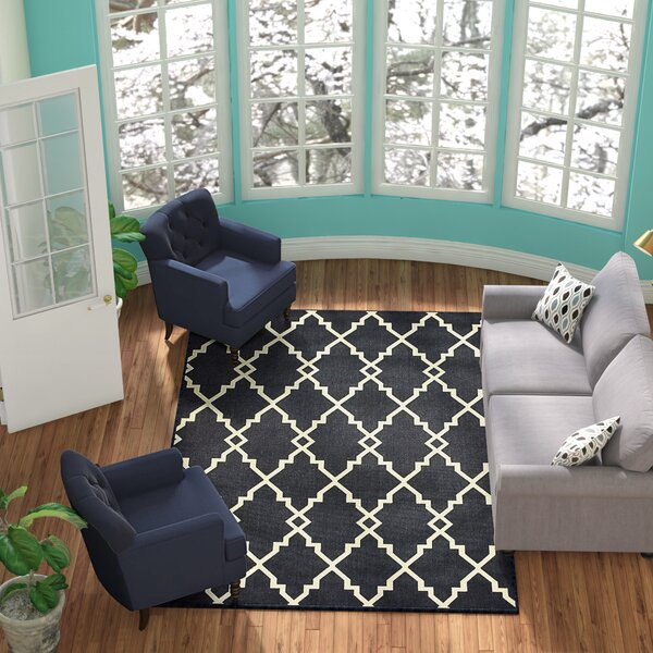 Salerno Lattice Black Indoor/Outdoor Area Rug by Charlton Home