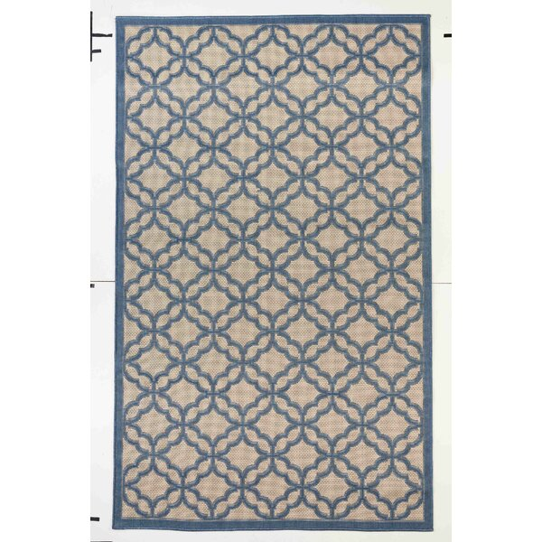 Emilia Beige/Blue Indoor/Outdoor Area Rug by Longshore Tides
