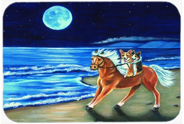 Corgi Beach Ride on Horse Kitchen/Bath Mat by Caroline's Treasures