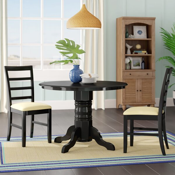 Langwater 3 Piece Pedestal Wood Dining Set by Beachcrest Home