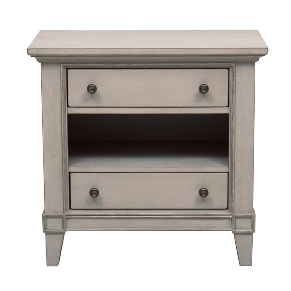 Loughton Lighted USB Charging 2 Drawer Nightstand by Canora Grey