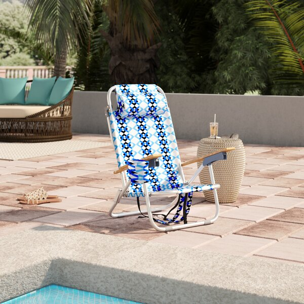 St. Augustine Reclining Beach Chair with Cushion by Bungalow Rose Bungalow Rose