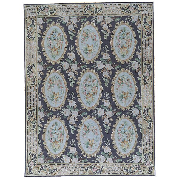 One-of-a-Kind Aubusson Hand-Woven Wool Black/Blue Area Rug by Pasargad