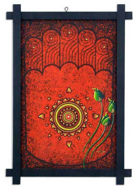 Footprint of Buddha by Parinya Nanjai Abbam Framed Graphic Art by Novica
