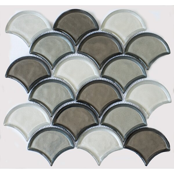 Fan Glass Mosaic Tile in Silver Gray by Byzantin Mosaic