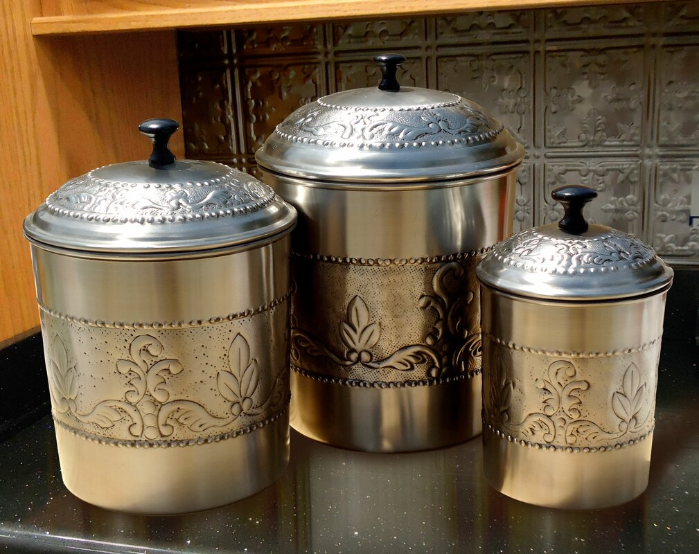 kitchen canister set old dutch victoria 3 piece kitchen canister set reviews wayfair 9880