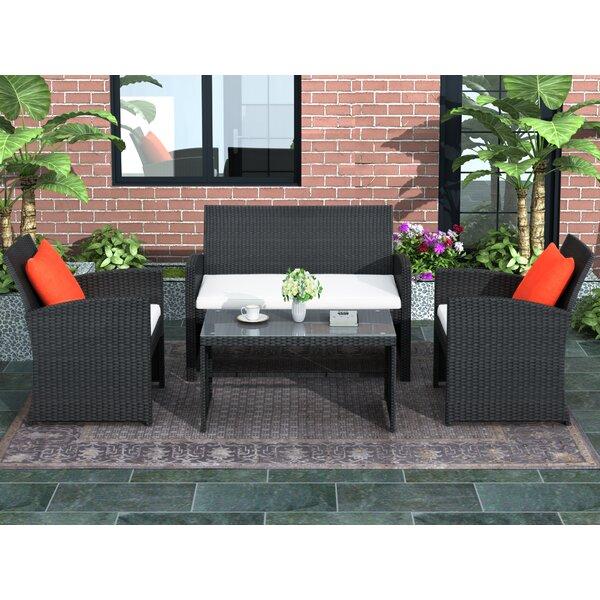 Aadarsh Outdoor Patio 4 Piece Rattan Sofa Seating Group with Cushions by Latitude Run