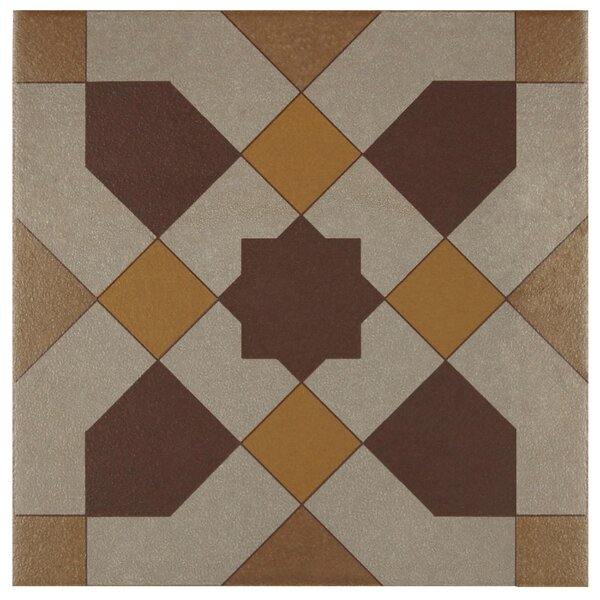 Cementa 7 x 7 Ceramic Tile in Burgundy/Gold/Tan by EliteTile