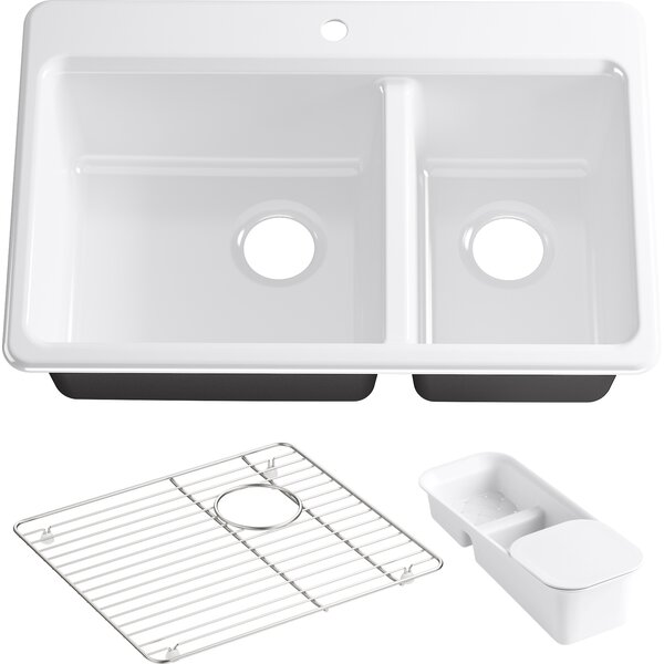 Kohler Riverby 33 x 22 x 9.625 Top-Mount Large/Medium Double-Bowl Kitchen Sink with Accessories and Single Faucet Hole