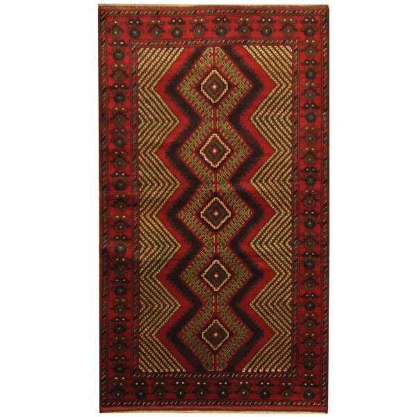 Prentice Tribal Balouchi Hand-Knotted Red/Ivory Area Rug by Isabelline