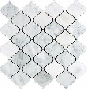 12 x 12 Natural Stone Mosaic Tile in White Carrara by Interceramic