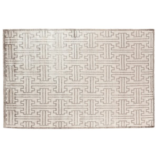 Ikat Hand-Woven Silk Light Gray/Ivory Area Rug by Exquisite Rugs