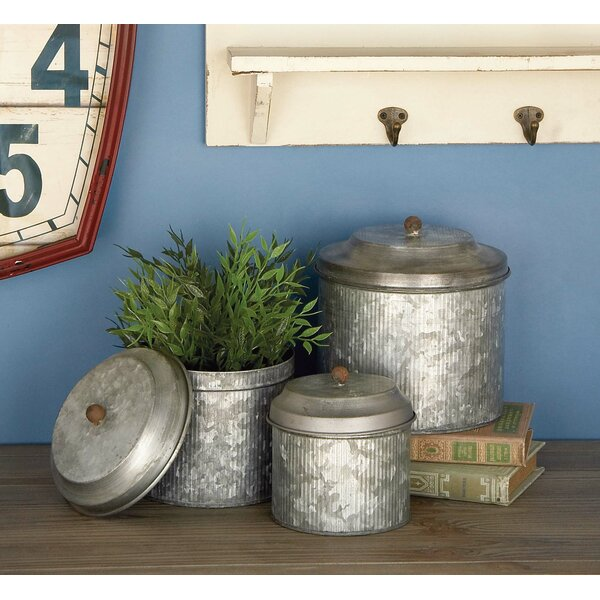 Galvanized 3 Piece Kitchen Canister Set by Cole & Grey