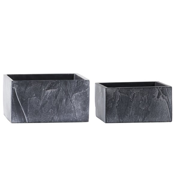 Whidden Wide Square 2-Piece Cement Pot Planter Set by Gracie Oaks
