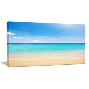 'Bright Blue Tropical Beach' Photographic Print on Wrapped Canvas by Design Art