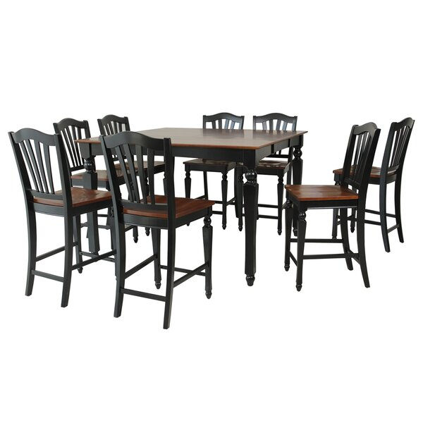 Onoway 9 Piece Counter Height Extendable Solid Wood Dining Set by TTP Furnish