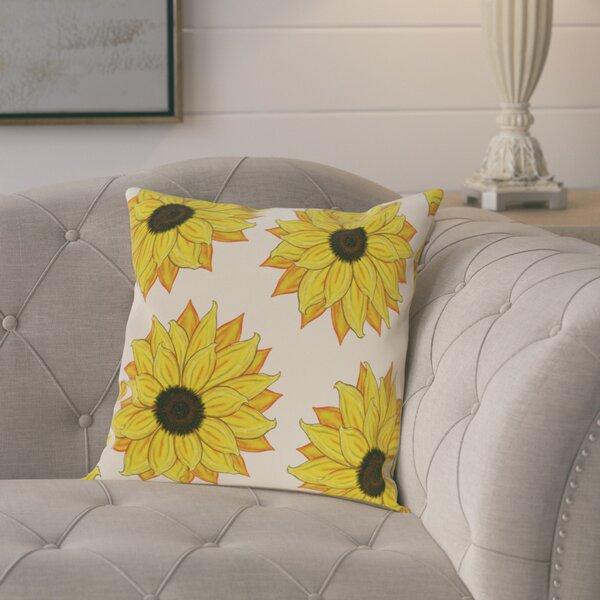Laniel Sunflower Power Flower Print  OutdoorThrow Pillow by August Grove
