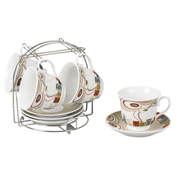 Coffee Cups on Metal Stand Novelty Set (Set of 4) by Lorren Home Trends