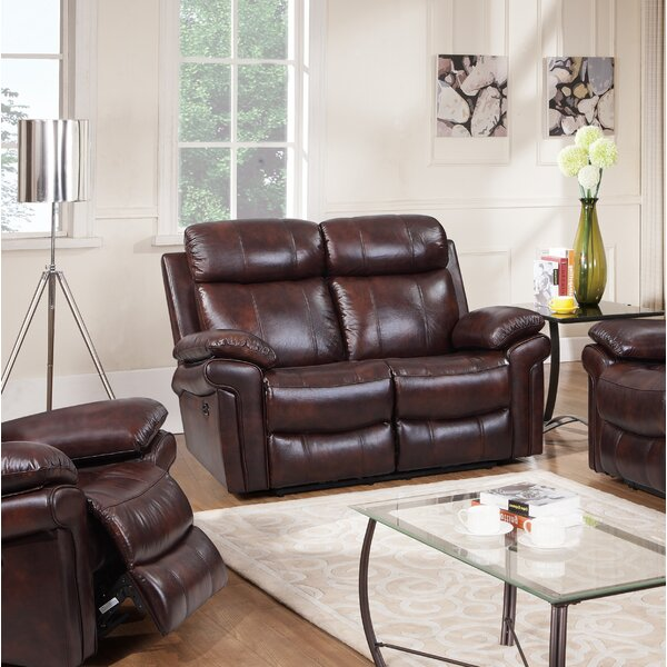 Best Quality Asbury Leather Reclining Loveseat by Red Barrel Studio by Red Barrel Studio
