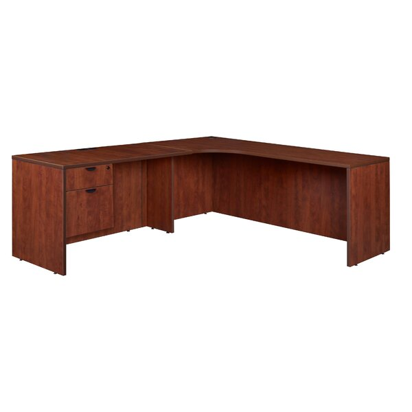 Linh Single Pedestal Left Corner Credenza L-Shape Executive Desk by Latitude Run