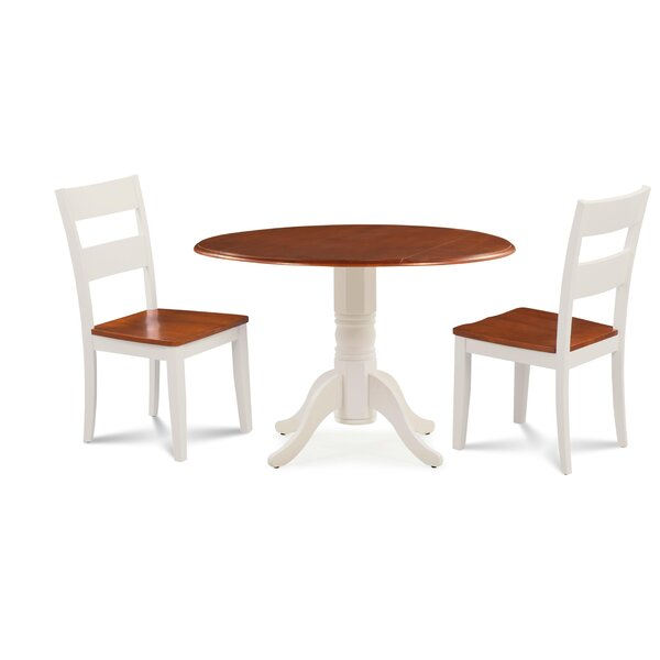 Forthill Wood 3 Piece Solid Wood Dining Set by Alcott Hill