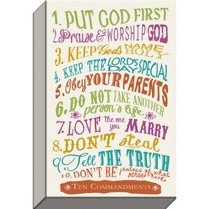 God's Ten Rules '10 Commandments With Jewels' Textual Art on Wrapped Canvas by Carpentree