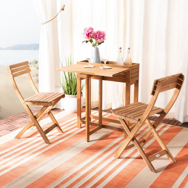 Volpe Flower 3 Piece Teak Bistro Set by Highland Dunes