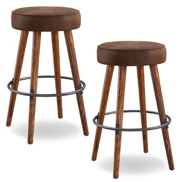Elk Falls Rustic Faux Leather 30 Swivel Bar Stool (Set of 2) by Loon Peak