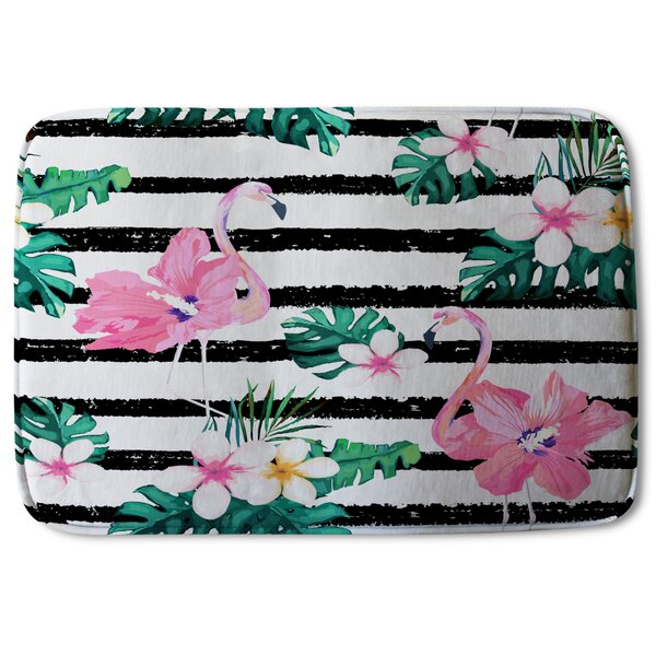Ulloa Flamingos Designer Rectangle Non-Slip Striped Bath Rug