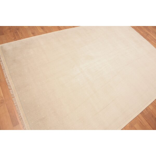 One-of-a-Kind Probst Hand-Knotted Wool Beige Area Rug by Bloomsbury Market