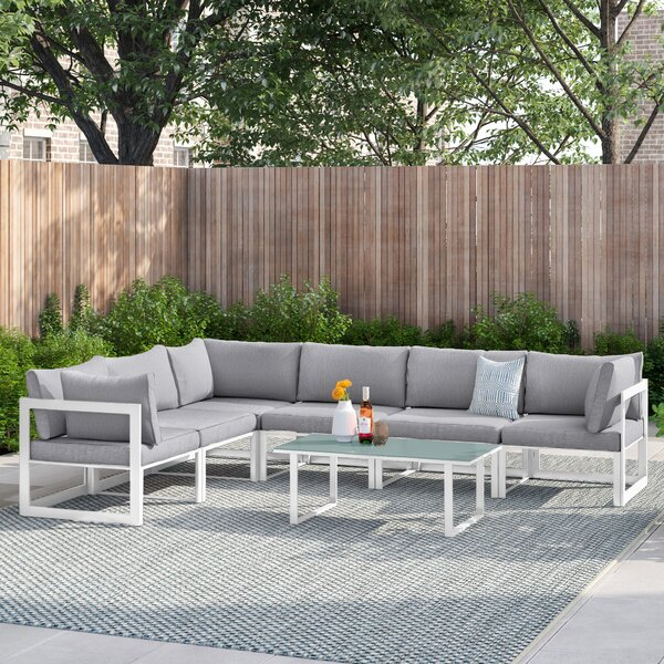 Annemarie Outdoor Patio 7 Piece Sectional Seating Group with Cushions by Foundstone
