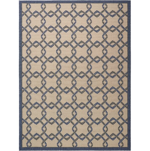 Kittrell Ivory/Blue/Gray Indoor/Outdoor Area Rug by Beachcrest Home