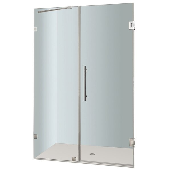 Nautis 63 x 72 Hinged Completely Frameless Shower Door by Aston