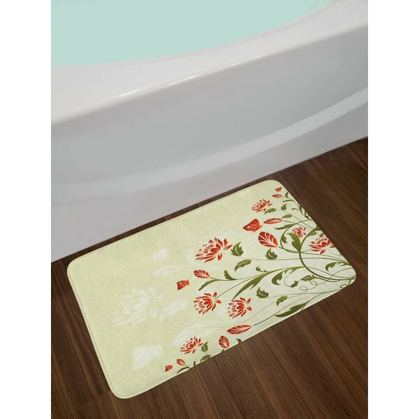 Abstract Floral Flowers Bath Rug by East Urban Home
