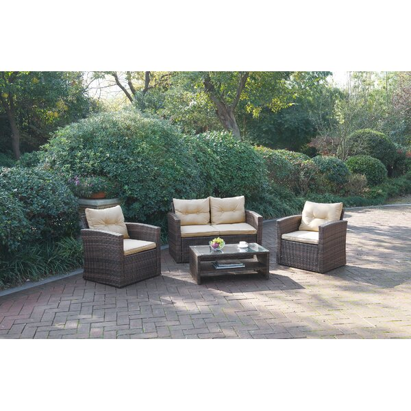 Blaire 4 Piece Rattan Sofa Set with Cushions by Bay Isle Home