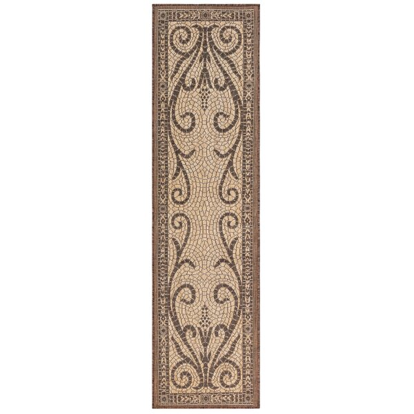 Arverne Mosaic Brown Indoor/Outdoor Area Rug by Charlton Home