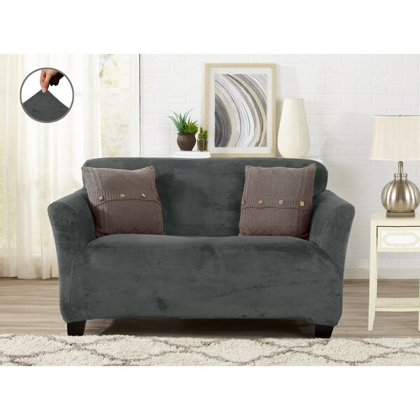 Velvet Plush Form Fit Box Cushion Loveseat Slipcover by Winston Porter