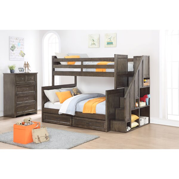 Lawanda Twin Over Full Bunk Bed with Bookcase and Drawers by Harriet Bee