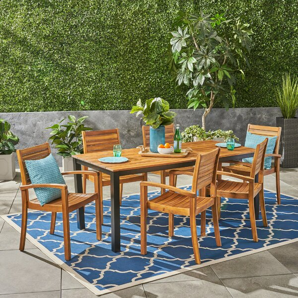 Lincolnwood 7 Piece Teak Dining Set by Bay Isle Home