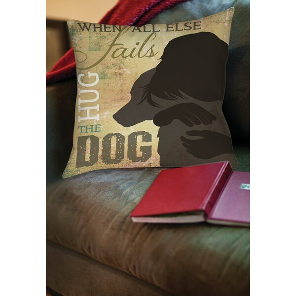 Hug the Dog Printed Throw Pillow by Manual Woodworkers & Weavers