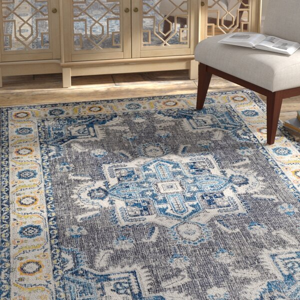Tillamook Blue/Medium Gray Area Rug by Bungalow Rose