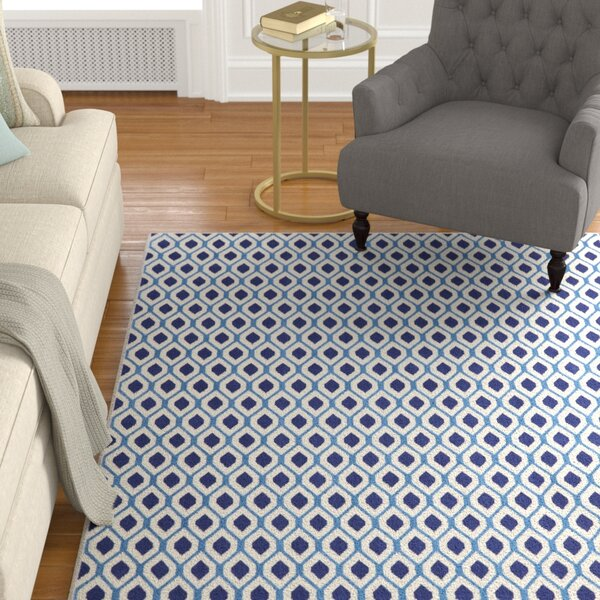 Susan White/Navy Area Rug by Charlton Home