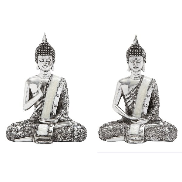 Spiritual Sitting Buddha Figurine (Set of 2) by World Menagerie