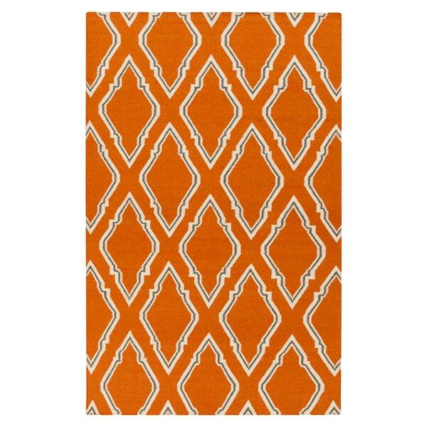 Fallon Papyrus Hand Woven Wool Burnt Orange Area Rug by Jill Rosenwald Home